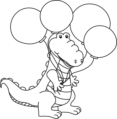 Black and White Alligator with Balloons