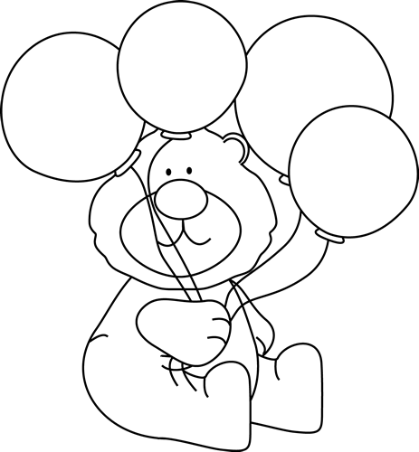 Black and White Bear with Balloons Clip Art - Black and ...