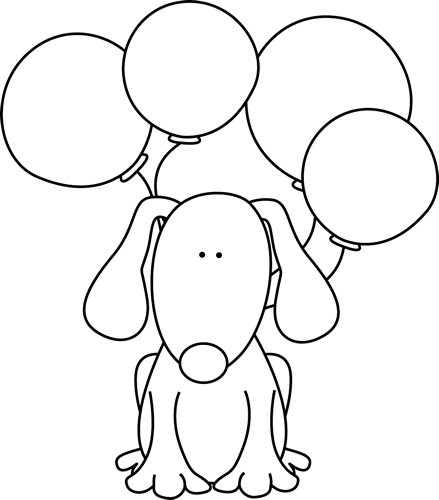 Black and White Dog with Balloons