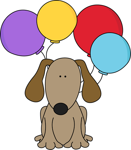 Dog with Balloons Clip Art Image cute brown dog with purple, yellow ...