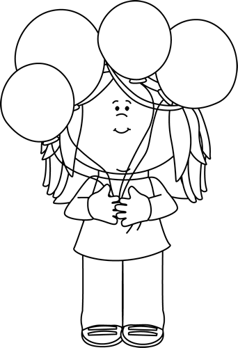 Black and White Girl Holding a Bunch of Balloons