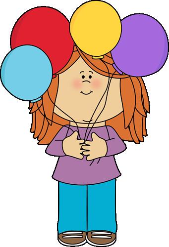 Girl Holding A Bunch Of Balloons Clip Art Girl Holding A