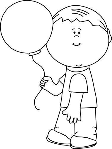 Black and White Boy Holding a Balloon