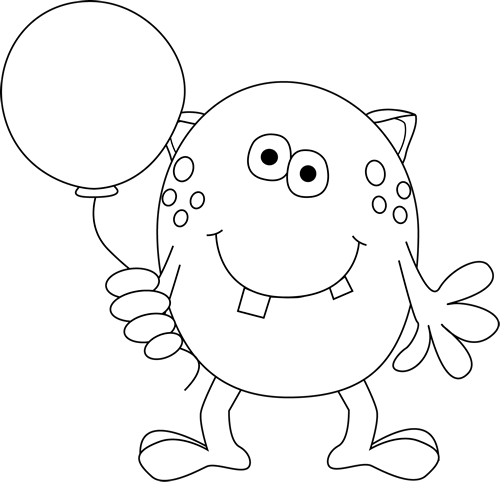Black and White Monster Holding a Balloon