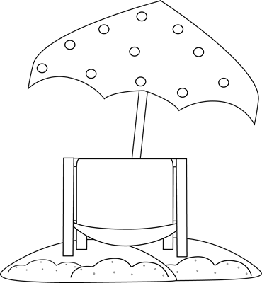 Black and White Beach Chair Under Umbrella Clip Art