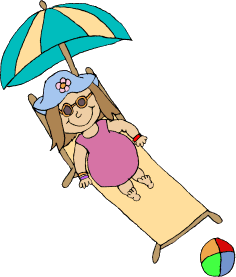 Beach Girl Clip Art Image - beach girl relaxing in a lawn chair under ...