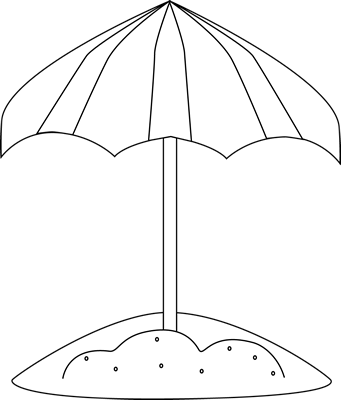 Black and White Beach Umbrella in the Sand
