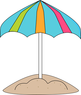 Beach Umbrella in the Sand Clip Art
