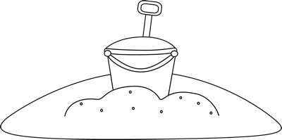 Black and White Bucket in the Sand Clip Art