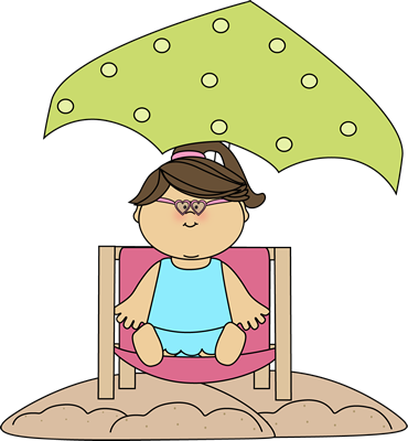 Girl Sitting in a Beach Chair Under an Umbrella Clip Art