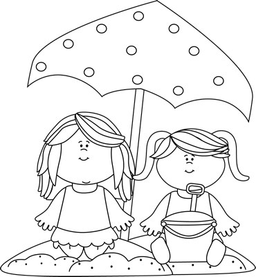 Black and White Girls Playing in the Sand Clip Art