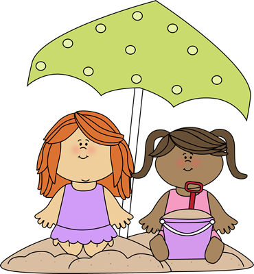 Girls Playing in the Sand Clip Art