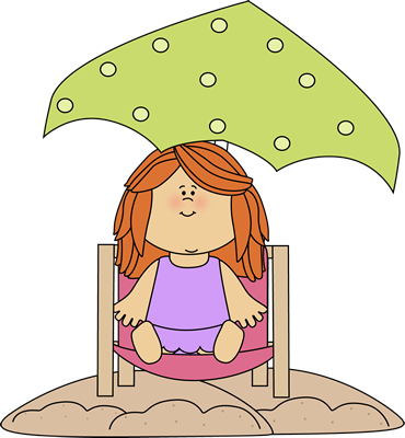 Red Headed Girl in a Beach Chair Clip Art