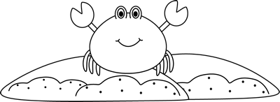 Black and White Sand Crab Clip Art
