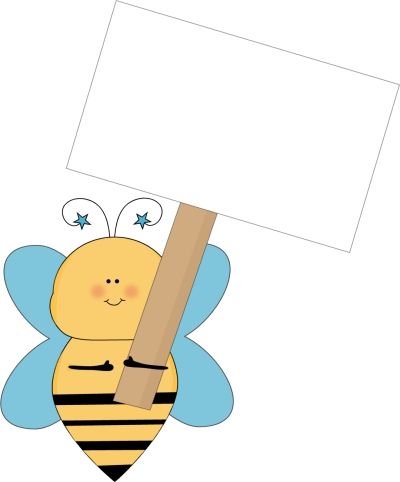 Blue Star Bee Holding a Blank Sign