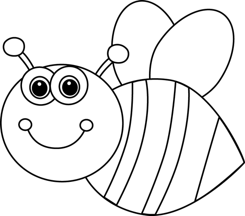 Black and White Cute Cartoon Bee