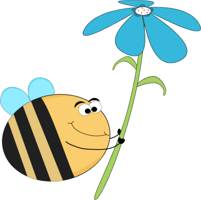 Funny Bee with a Blue Flower