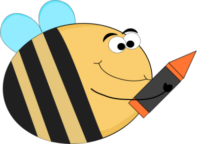 Funny Bee with an Orange Crayon