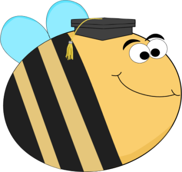 Funny Bee Wearing a Graduation Cap