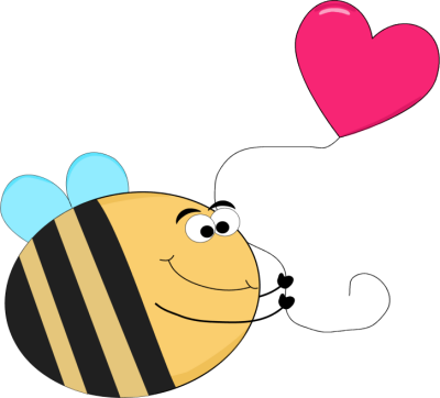 Funny Bee with a Heart Shaped Balloon