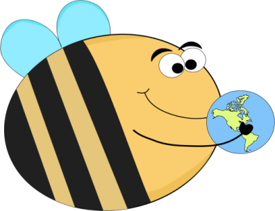 Funny Bee Holding a Globe