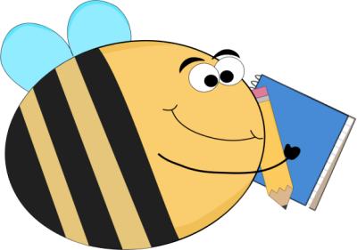 Funny Bee with a Notebook and Pencil