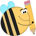 Funny Bee with a Big Pencil