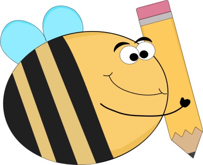 Funny Bee with a Big Pencil Clip Art Image - funny bee carrying a big ...
