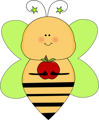 Green Star Bee with an Apple
