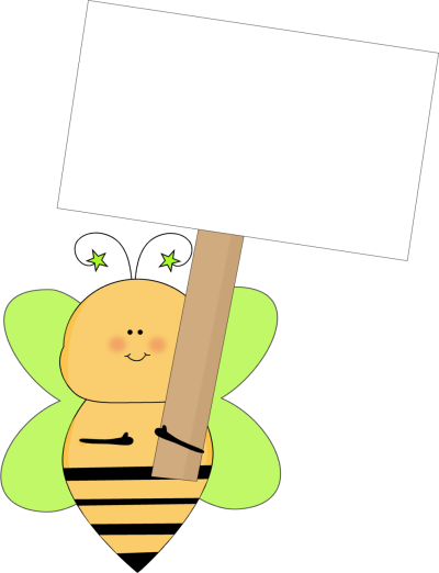 Green Star Bee Holding a Blank Sign