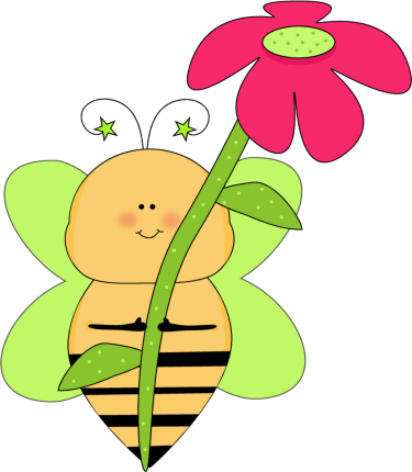 green star bee with a pink flower clip art green star bee with a rh mycutegraphics com