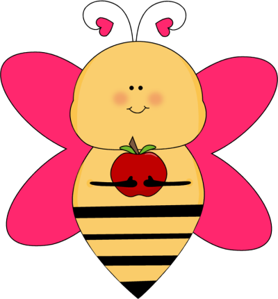 Heart Bee with an Apple