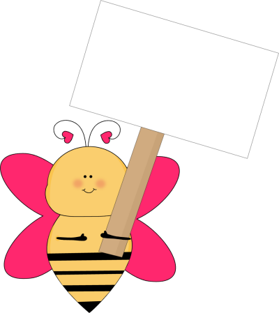 Heart Bee with a Blank Sign