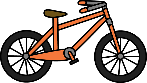 Orange Bicycle Clip Art Image - orange bicycle with a brown seat.
