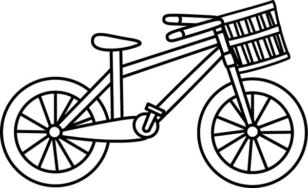 Black & White Bicycle with a Basket