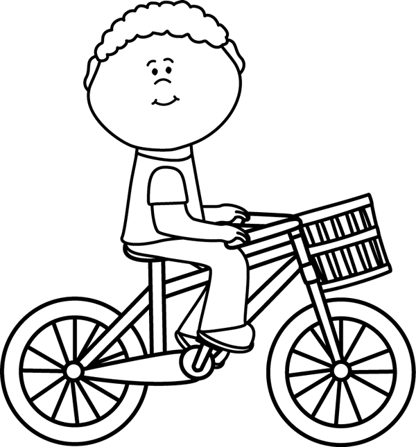 Black & White Boy Riding a Bicycle with a Basket