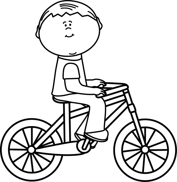 Black and White Boy Riding a Bicycle