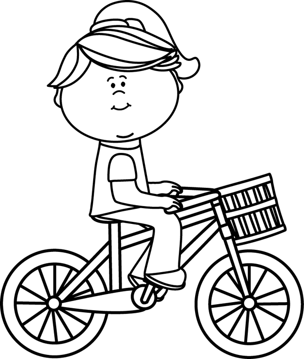 Black & White Girl Riding a Bicycle with a Basket