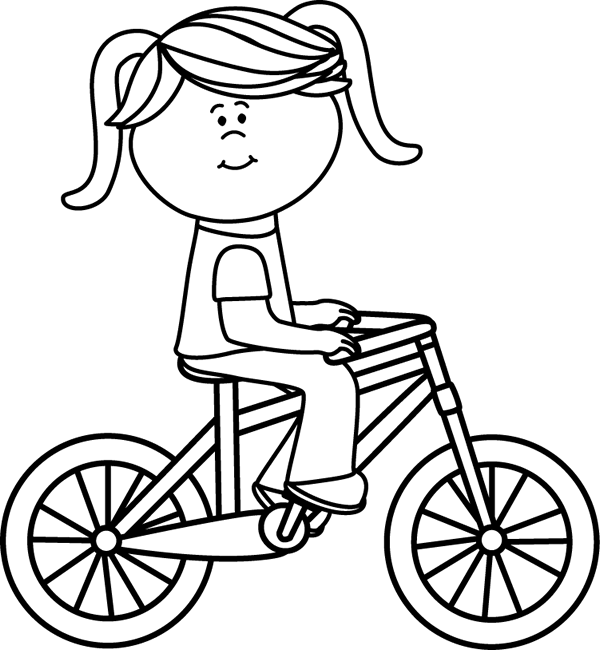 Black & White Girl Riding a Bicycle
