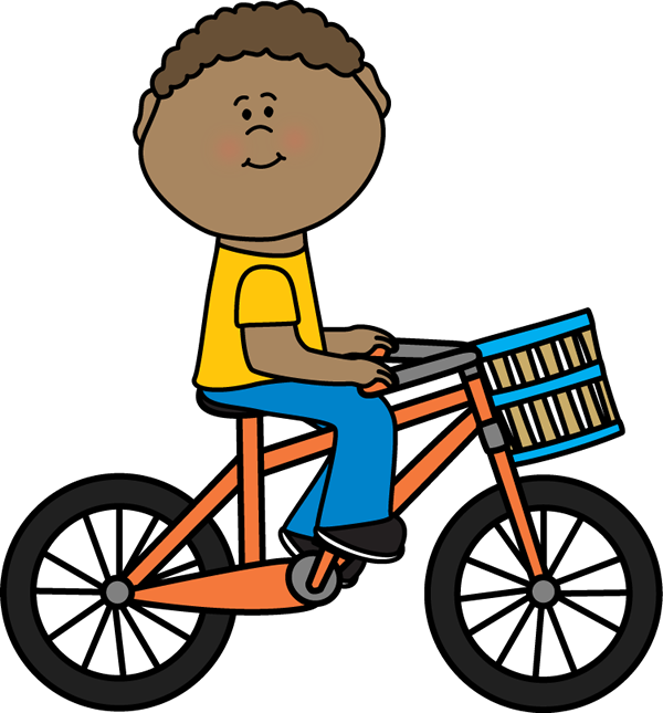 Boy Riding a Bicycle with a Basket