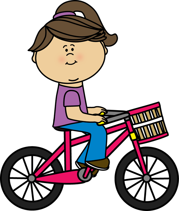 Girl Riding a Bicycle with a Basket