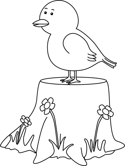 Black And White Bird On A Tree Stump Clip Art Black And