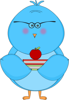 Blue Bird Carrying School Books and an Apple