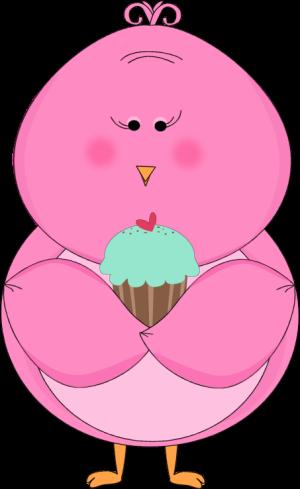 Pink Bird Eating a Cupcake