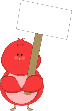 Red Bird Holding a Blank Sign