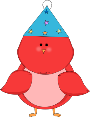 Red Bird Wearing a Party Hat