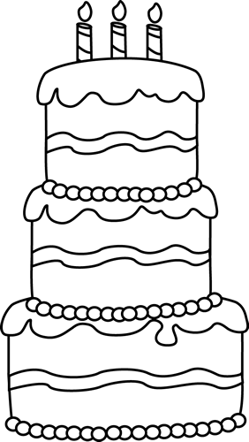 Black and White Big Birthday Cake Clip Art - Black and ...
