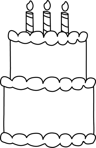 Black and White Birthday Cake Clip Art - Black and White ...