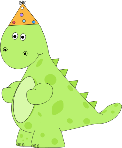 Birthday Dinosaur Wearing a Party Hat