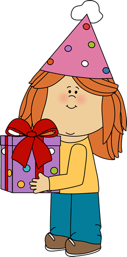 birthday girl with birthday gift clip art birthday girl with